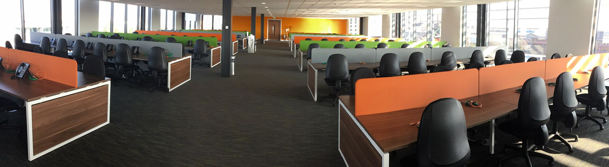 Modern call centre interior in Liverpool