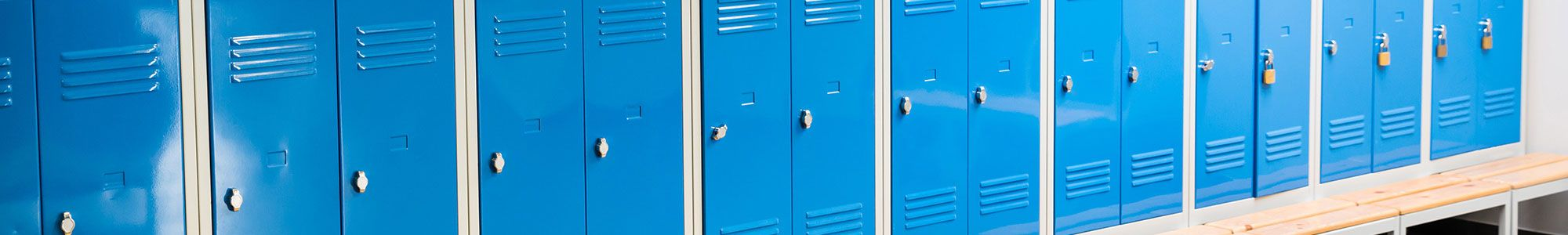 Row of blue school lockers