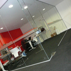 Glass wall modern office